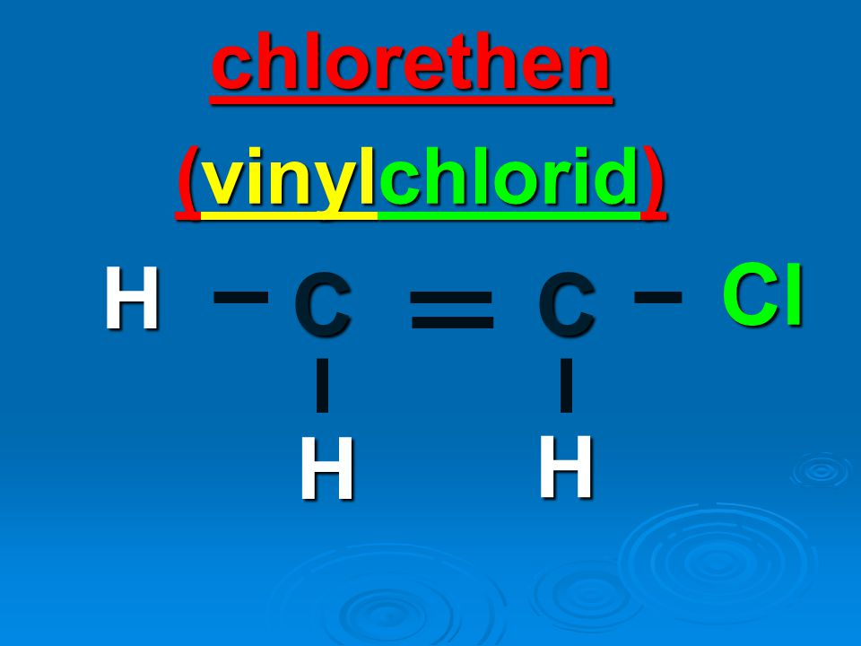 chlorethen CC Cl H H H (vinylchlorid)