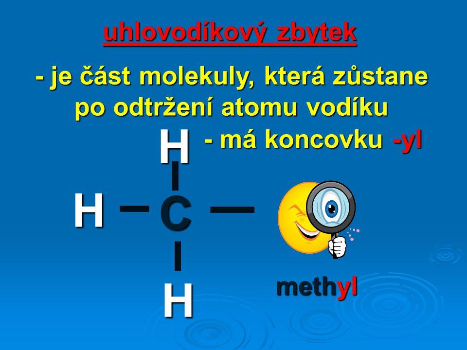 C H H H uhlovodíkový zbytek - je část molekuly, která zůstane po odtržení atomu vodíku - má koncovku -yl methyl