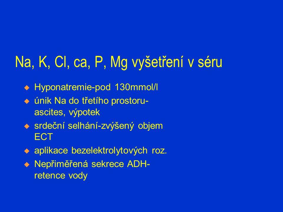 Na, K, Cl, Ca, P, Mg- vyšetření v séru  Hyperkalemie-nad 5,0- 5,5mmol/l-hodnocení závisí na pH  akutní renální selhání  rozpad tkání  výrazná akutní acidóza  masivní přívod K