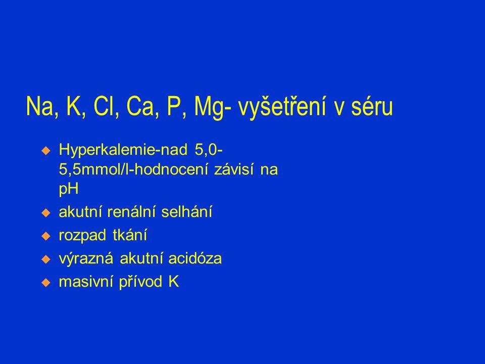 Na, K, Cl, Ca, P, Mg-vyšetření v séru  Hypokalémie-pod 3,5mmol/l  zvracení, průjmy  K nešetřící diuretika  chemoterapie,antimykotická terapie  anabolismus  hyperaldosteronismus  výrazná akutní alkalóza