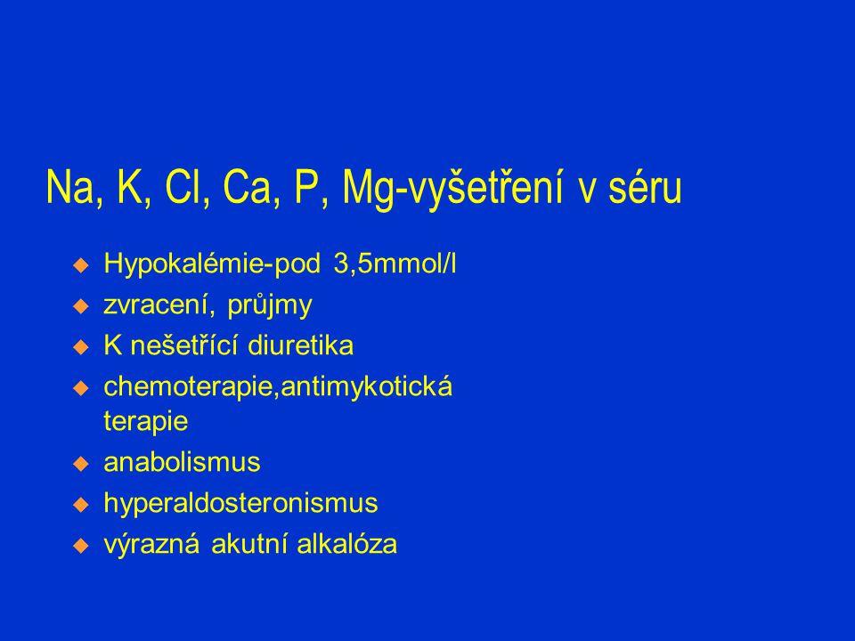 Na, K, Cl, Ca, P, Mg-vyšetření v séru  Cl-hodnotíme s Na a ABR  Ca-celkové,ionizované- vyvázaný heparin, hodnotíme s CB.