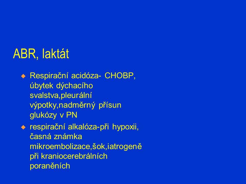 ABR, laktát  Hyperlaktatémie-nad 2,2mmol/l /1,0/  tkáňová hypoxie-KPCR,porucha transportu,hypoxie  poruchy metabolismu-DM koma,intoxikace,hepatopatie,leu kemie,nedostatek B1…  vrozené poruchy metabolismu- mitochondriální myopatie  kombinace všech typů