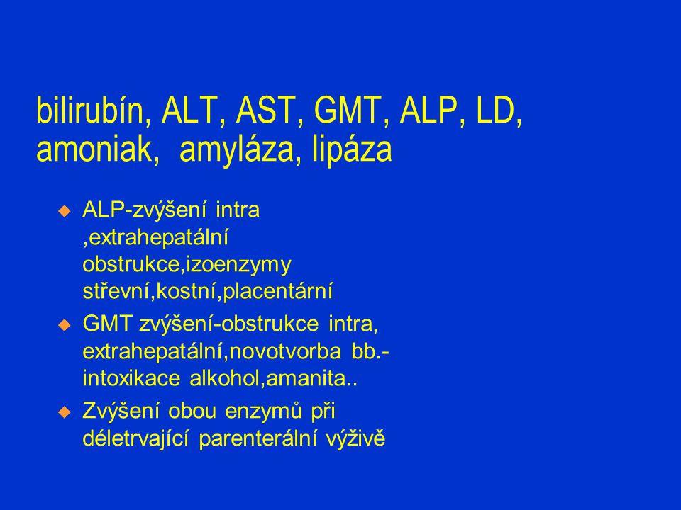 bilirubín, ALT, AST, GMT, LD, amoniak, amyláza, lipáza  amoniak-zvýšení při hepatálním selhání  amyláza-hodnotíme současně hladiny v séru, moči,event.drén  pankreatický izoenzym  zvýšení-makroamylasémie, hypoperfuze pankreatu, opiáty,iritace pankreatu,pankreatitida  lipáza- specifcká pro pankreas