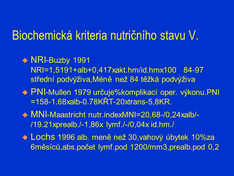 Hodnocení nutričního stavu  1994-1995 sledovány nutriční parametry u pac.hospitalizovaných déle než 10 dní před kardiochirurgickým výkonem.Již po 10 dnech snížené hodnoty prealbuminu a imunoglobolinů.Pac.bez projevů zánětu.