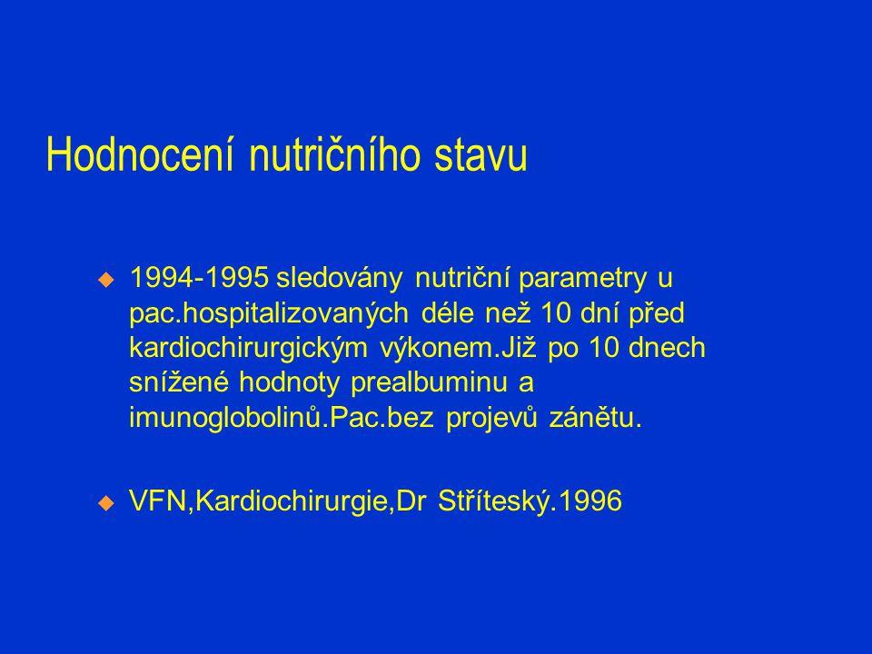 Doporučení:  V rámci předoperačního vyšetření- nutriční diagnostika /klinické a laboratorní parametry/  Biochemické parametry- CB.albumin,prealbumin,CRP /PAF/,prognost.index/  V pooperačním období-náběry nutričních markerů 3x v týdnu.