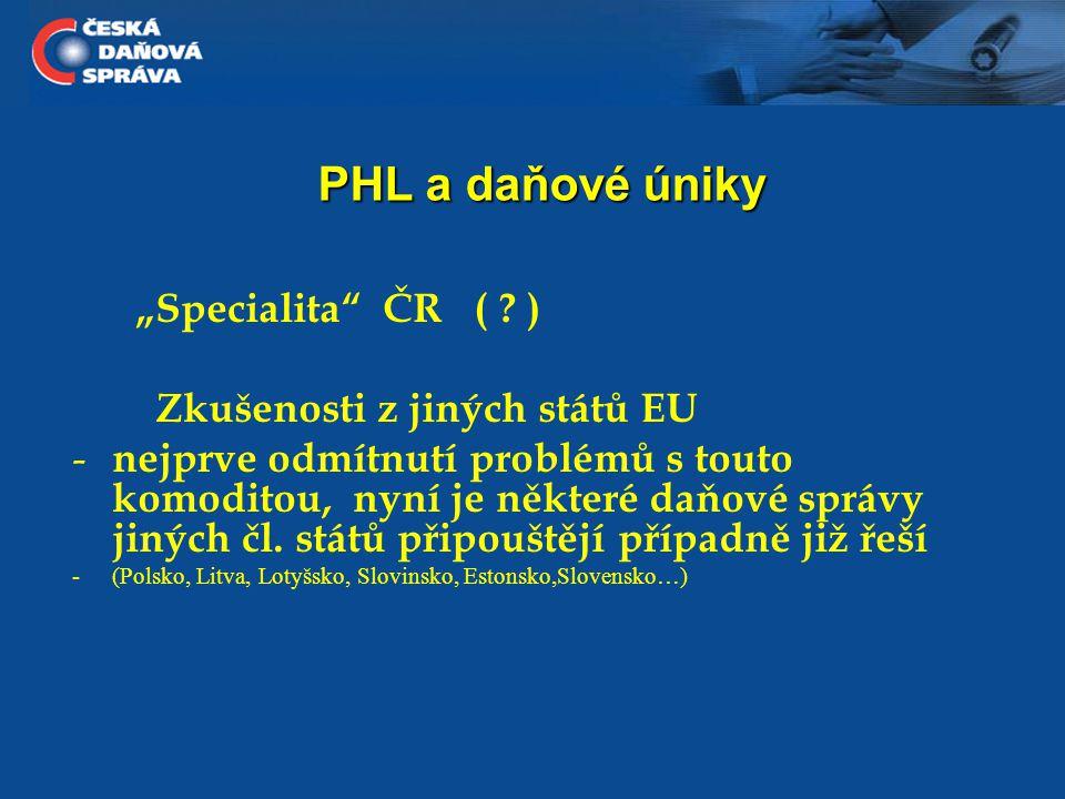 PHL a daňové úniky ČR - velmi střízlivý odhad rozsahu úniku na DPH za rok 2009 - jen u komodity PHL 5,1 mld.