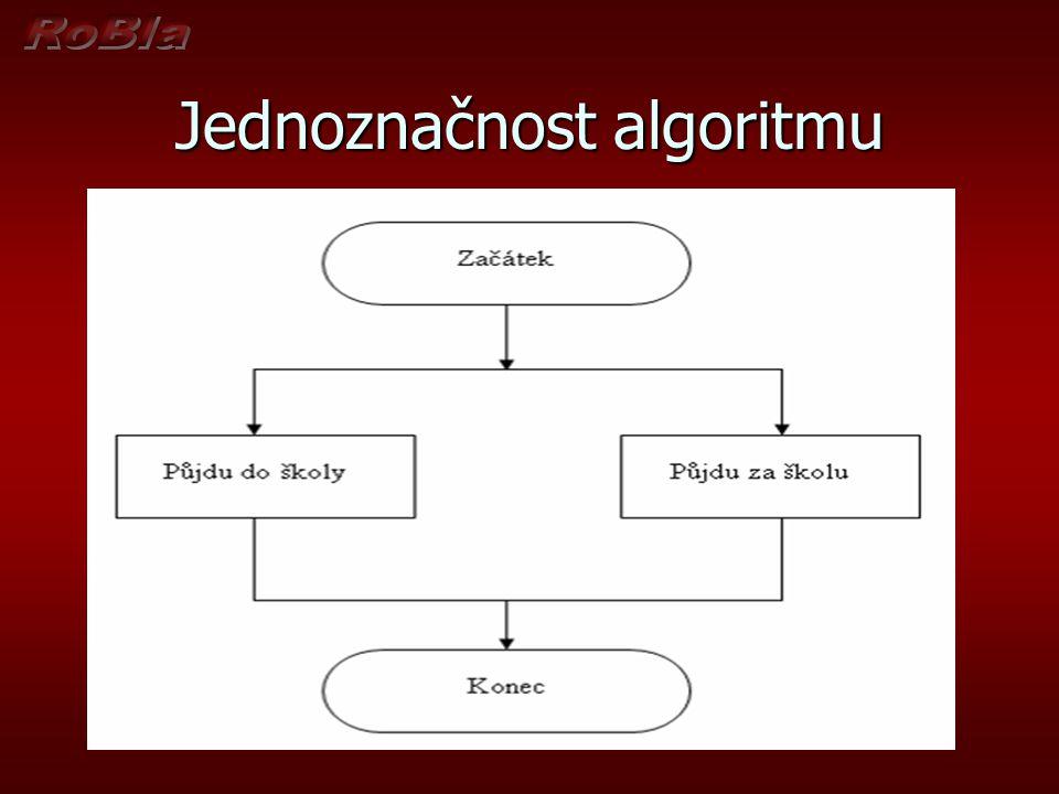 Špatný algoritmus, protože byla porušena podmínka jednoznačnosti – (determinovanost - podmíněnost) - všechny operace i jejich návaznosti musí být jednoznačně určeny (definovány) a nic nesmí být náhodné Špatný algoritmus, protože byla porušena podmínka jednoznačnosti – (determinovanost - podmíněnost) - všechny operace i jejich návaznosti musí být jednoznačně určeny (definovány) a nic nesmí být náhodné