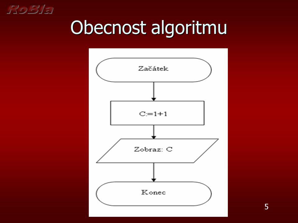 Špatný algoritmus, protože byla porušena podmínka obecnosti – (hromadnosti) - algoritmus musí řešit úlohu pro různé vstupní hodnoty Špatný algoritmus, protože byla porušena podmínka obecnosti – (hromadnosti) - algoritmus musí řešit úlohu pro různé vstupní hodnoty