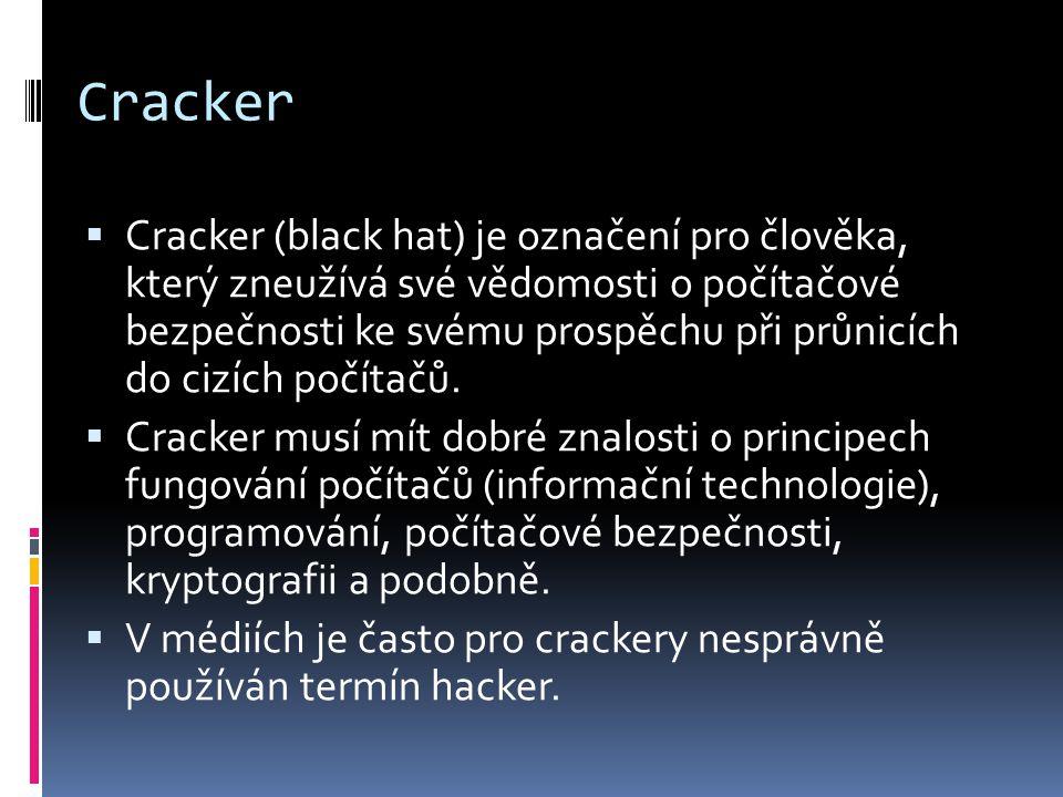 Hacker  Hackeři jsou počítačoví specialisté či programátoři s detailními znalostmi fungování systému, dokážou ho výborně používat, ale především si ho i upravit podle svých potřeb.
