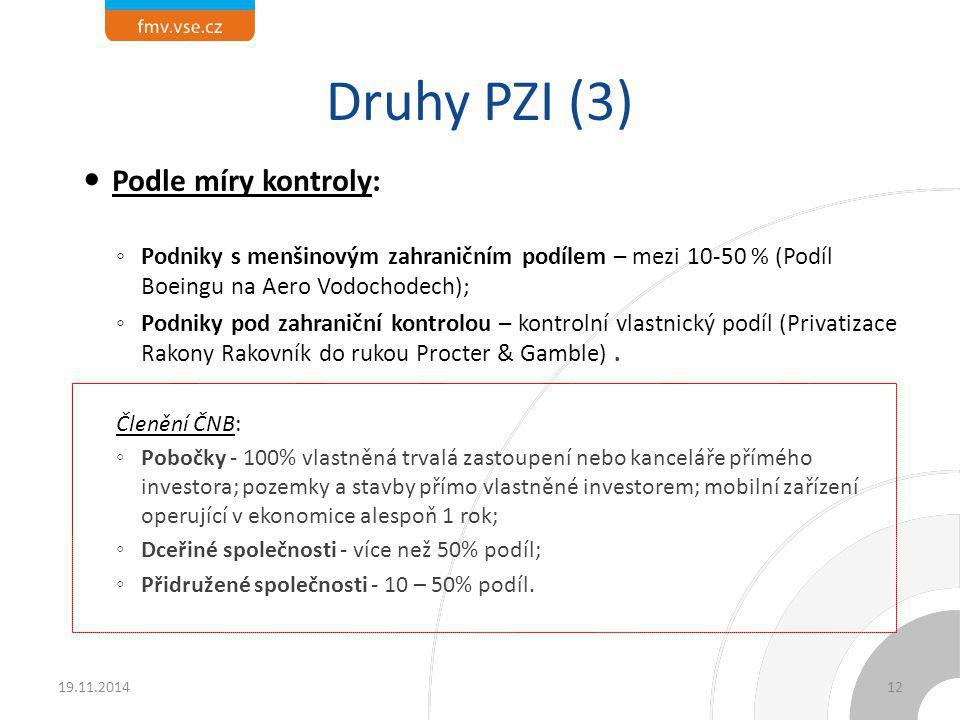 """Druhy PZI (4) Podle specializace mateřské firmy: ◦ Vertikální PZI – rozdílné fáze produkčního řetězce v jednotlivých pobočkách (Ovládnutí BorsodChem Gazpromem, retailingové společnosti) ≈ Efektivitu (Faktory) vyhledávající ; ◦ Horizontální PZI – podobné fáze produkčního řetězce v jednotlivých pobočkách (Investice PWC v Praze) ≈ Trhy vyhledávající; ◦ """"Konglomerátní PZI – investice do nepříbuzenské činnosti (Vivendi a zábavný průmysl: Jean-Marie Messier)."""