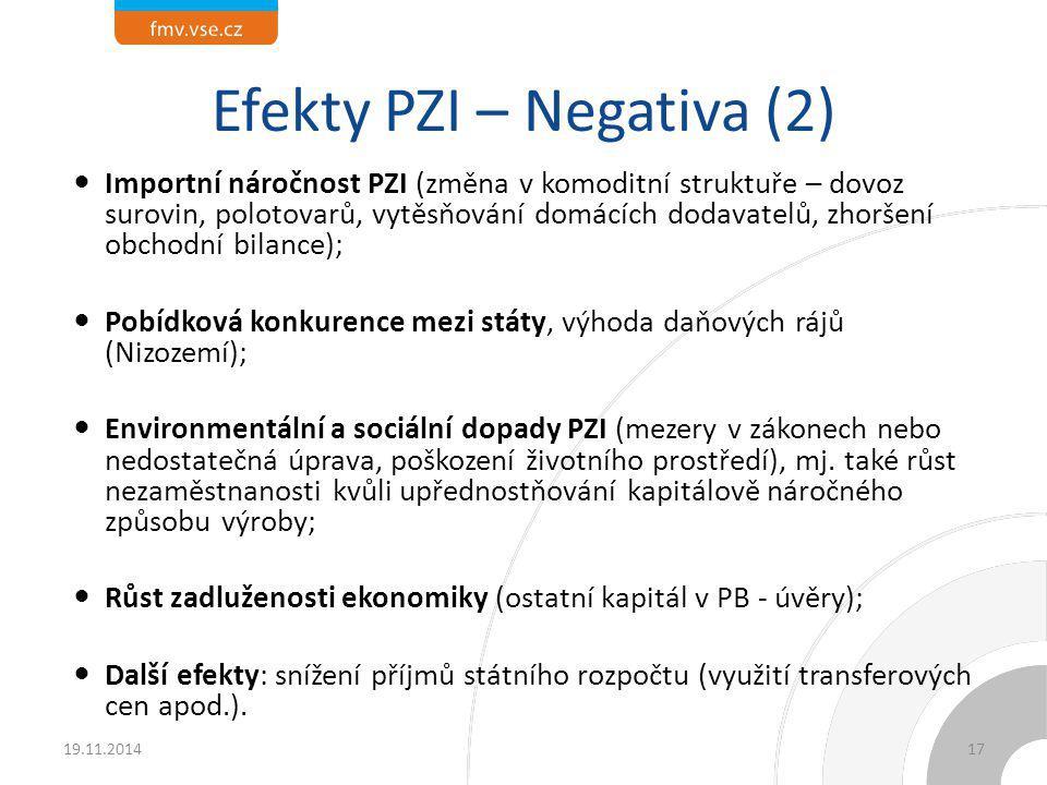 Faktory ovlivňující příliv PZI (1) Potenciál země (např.