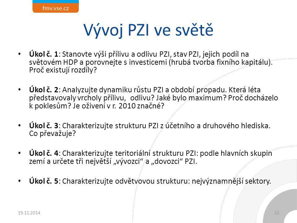 Statistiky: – Příliv PZI v r.2013: 1,45 bil. USD, stav 25,5 bil.