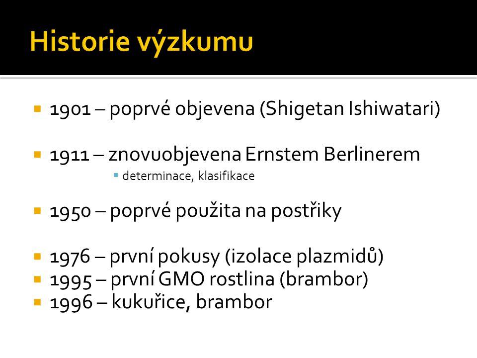  2006 – plocha pěstovaných GMO rostlin o rozloze 281 500 km 2  bavlník: 33,6%  kukuřice: 11%  současný výzkum:  Mexiko  Mario Soberon, Andrea Bravo  výzkum rezistence