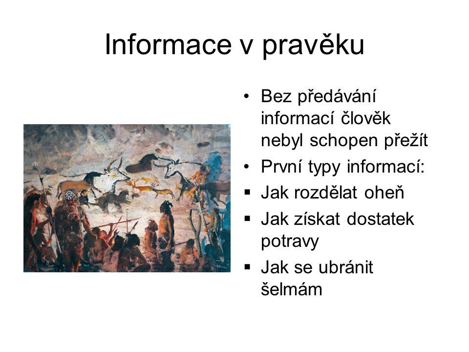 Informace ve starověku Starověké civilizace už považovaly získávání informací za důležitou součást své existence Přenášely se informace především v nejdůležitějších oborech: zemědělství, řemesla, astronomie a s tím související kalendář