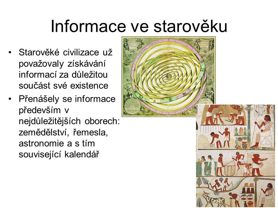 Přenos informací Ve starověku se informace začaly přenášet pomocí písma Pro evropskou civilizaci měly největší význam egyptské hieroglyfy a sumerské klínové písmo