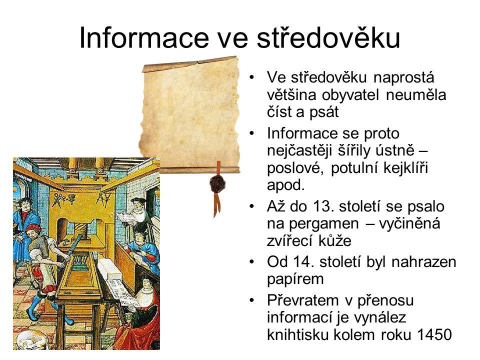 Informace v novověku V novověku se předávání informací neuvěřitelně zrychlilo.