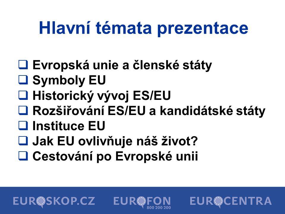  27 členských států EU  ostrovní a zámořská území členských států EU (Kanárské ostrovy, Azorské ostrovy, Madeira, ostrov Martinik a Guadeloupe, Francouzská Guyana, ostrov Reunion)  497 miliónů obyvatel (7,5% světové populace)  Evropská unie není státem  Evropská unie je společenstvím států Evropy, které společně spolupracují na základě smluvních dokumentů EU Co je to Evropská unie?
