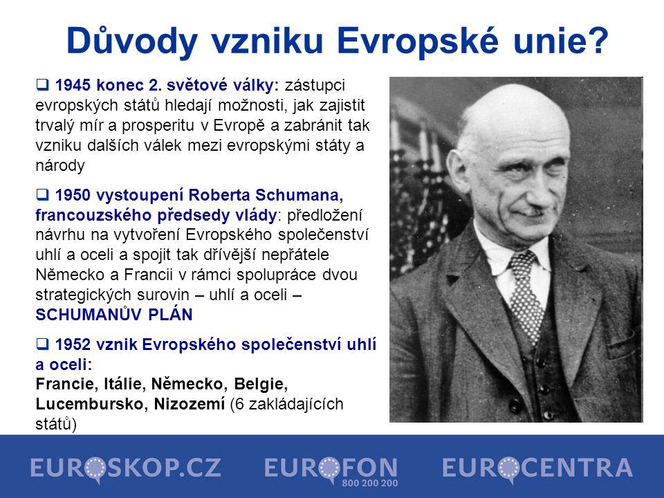 1951 Evropské společenství uhlí a oceli 1957 Evropské hospodářské společenství 1957 Evropské společenství pro atomovou energii Vznik Evropské unie 1967 Evropská společenství (ES) 1993 Evropská unie (EU) 1957 Evropské hospodářské společenství 1957 Evropské společenství pro atomovou energii