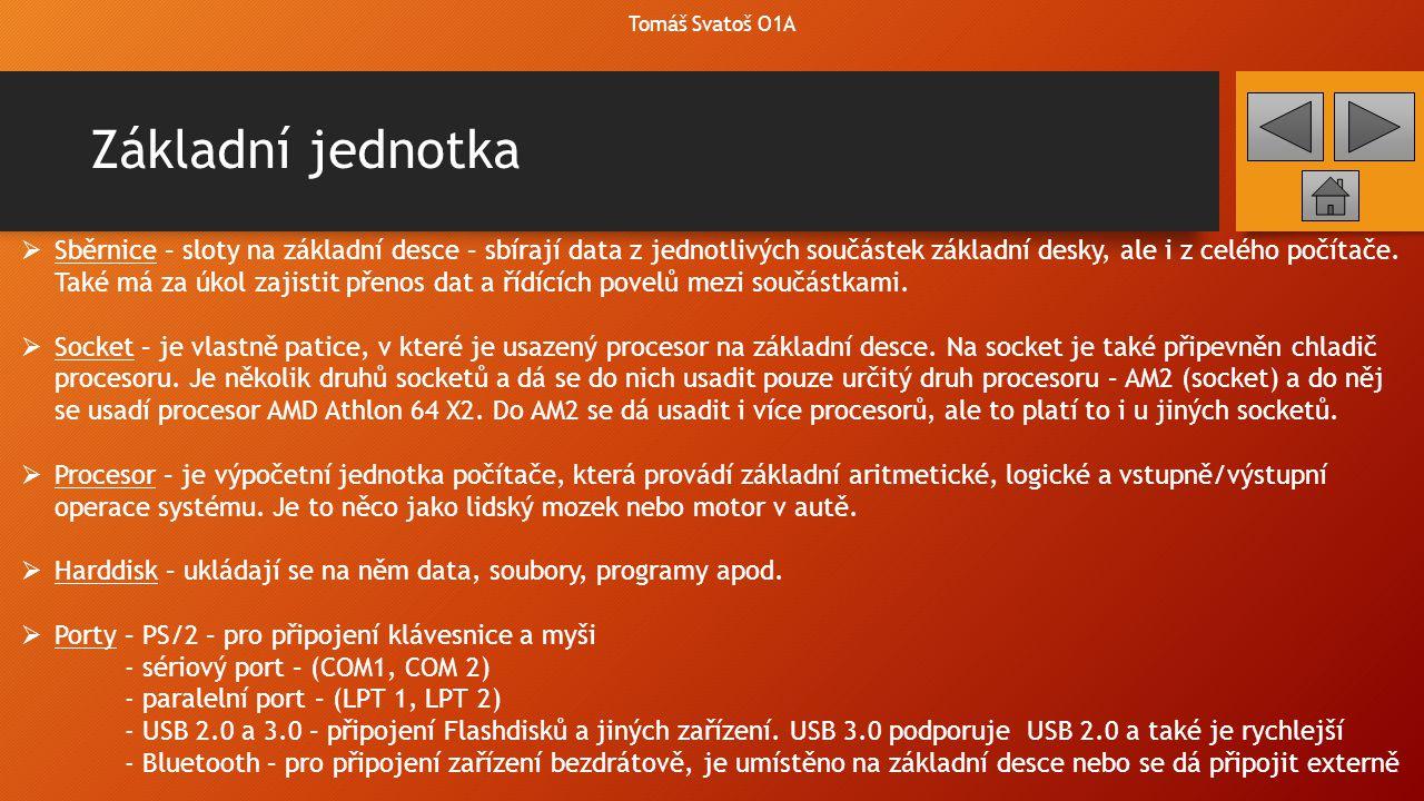 Základní jednotka Tomáš Svatoš O1A Motherboard ProcesorHarddisk ZdrojGrafická kartaZvuková karta