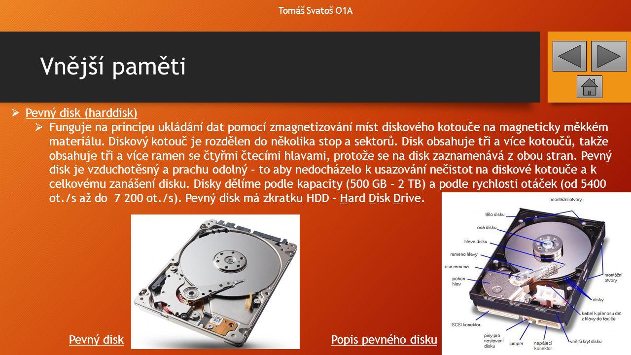 Vnější paměti Tomáš Svatoš O1A  Dražší ale za to výkonnější alternativou místo HDD je SSD disk.