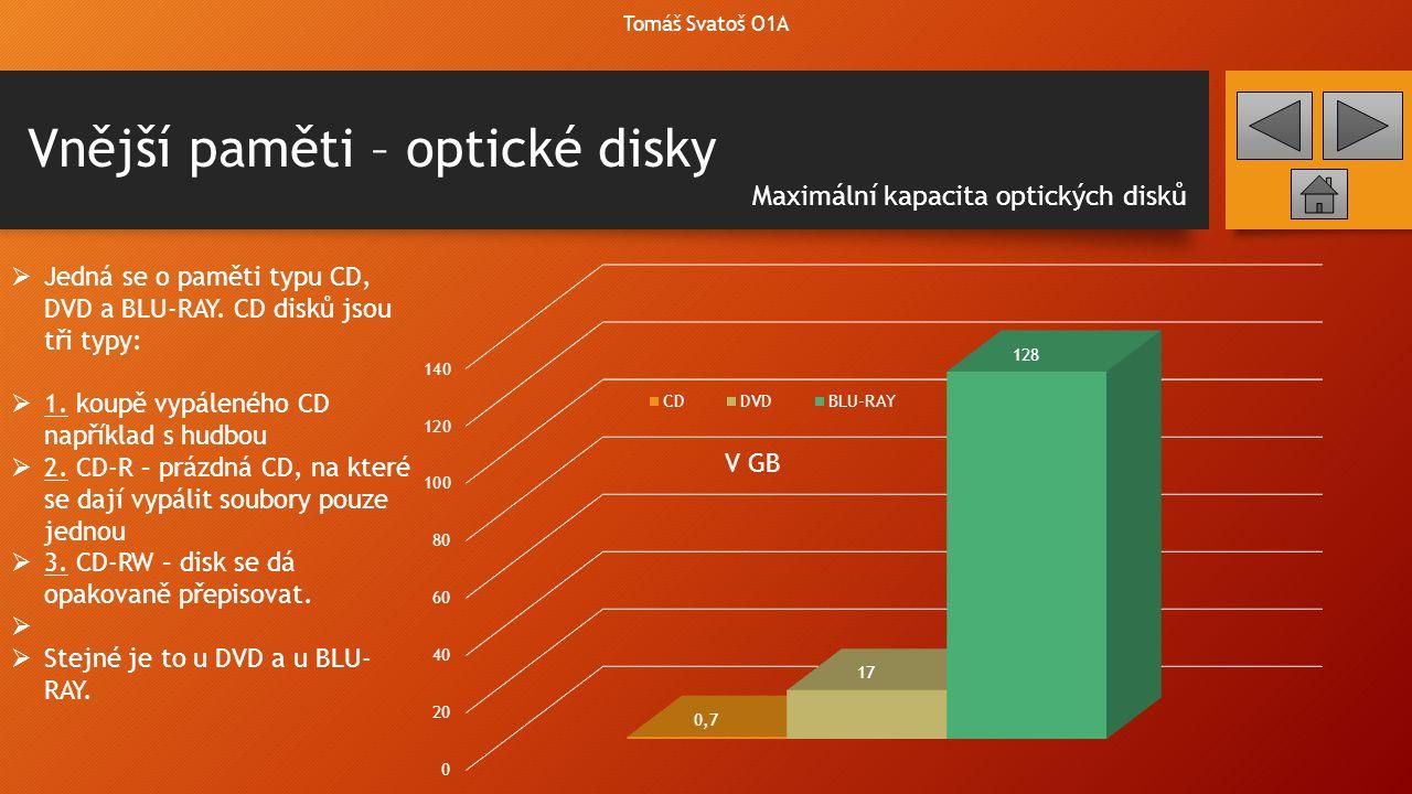Vnější paměti – princip optických disků Tomáš Svatoš O1A  Abychom mohli zapisovat nebo číst z optických disků, potřebujeme k tomu příslušnou optickou mechaniku.