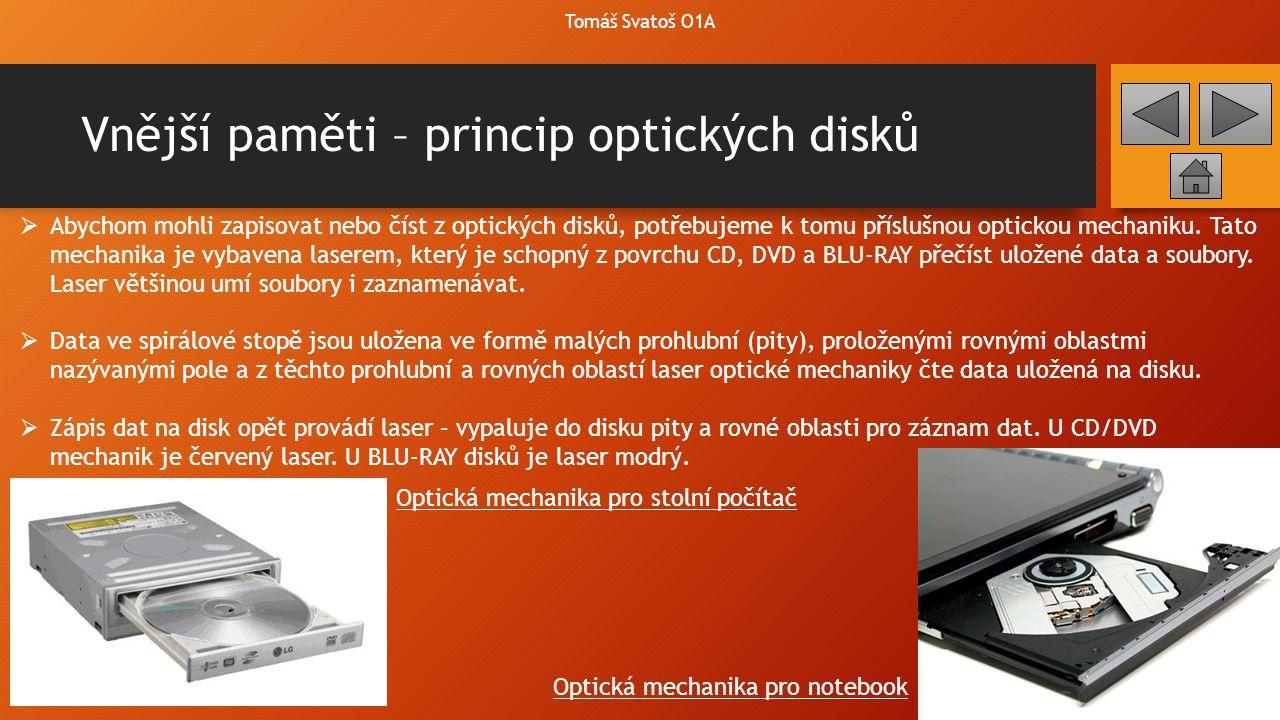 Vnější paměti Tomáš Svatoš O1A  CompactFlash – je předchůdce FlashDisků – jedná se o paměťové karty, které sloužili jako přenosné úložiště dat.