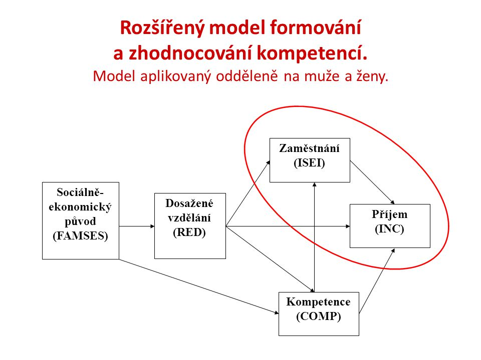 Strukturní model pro celou EA populaci Model měření pro SES výchozí rodiny – parametry fixovány pro všechny věkové skupiny Model měření pro kompetence – parametry fixovány pro všechny věkové skupiny Model vyhovuje