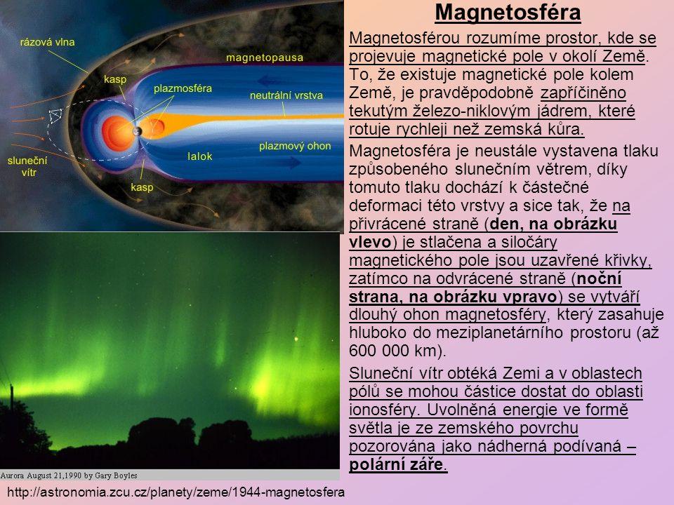 """Působení slunečního větru na zemskou magnetosféru a vznik polární záře """"SOHO (ESA a NASA) : http://sohowww.nascom.nasa.gov/gallery/images/large/magnetic_clean2_prev.jpg"""