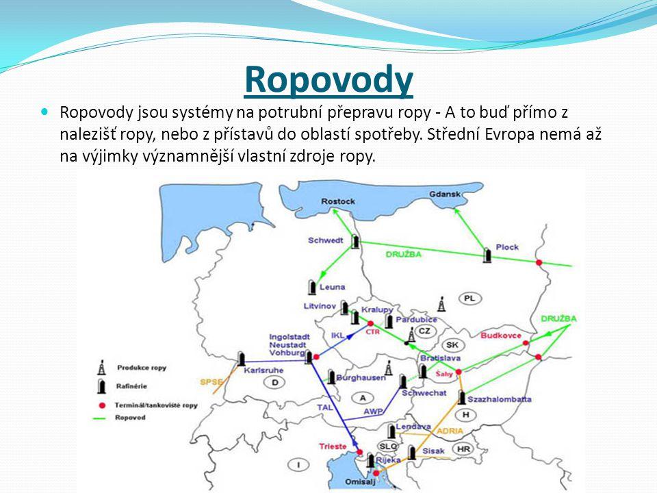 Alternativní způsoby dopravy ropy Před vznikem ropovodu Družba (z Ruska) se ropa do tehdejšího Československa dopravovala po železnici cisternovými vagóny.