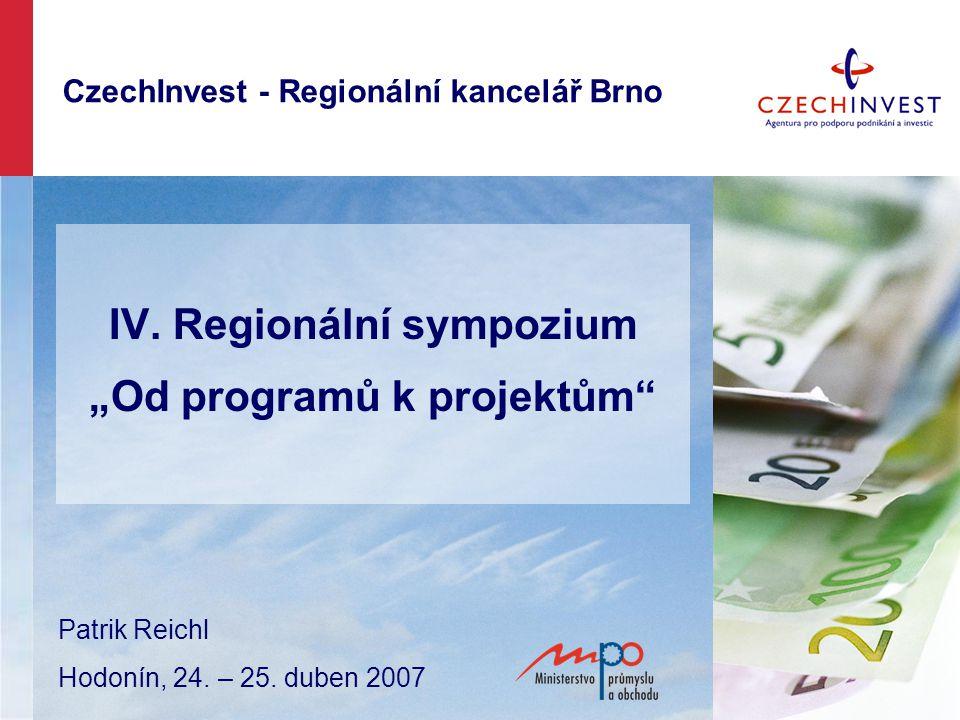 Obsah -- Představení služeb agentury CzechInvest, činnosti regionálních kanceláří -- Výsledky programovacího období 2004 – 2006 -- Operační program průmysl a podnikání -- Podpora podnikání v novém programovacím období 2007-2013 -- představení Operačního programu podnikání a inovace (OPPI)