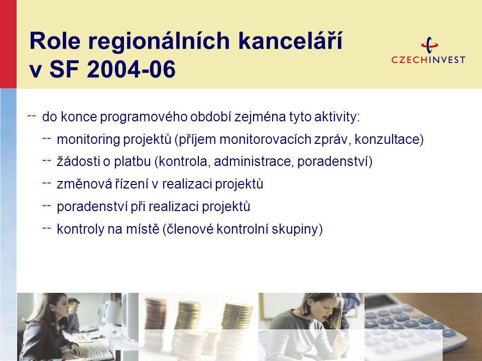 Role regionálních kanceláří v SF 2007-13 ╌ zajišťují publicitu programů, aktivně zvyšují podvědomí o programech ╌ poskytují informace o programech podpory podnikání ╌ poskytují konzultace a návod jak získat dotace na podporu podnikání ╌ pomáhají s přípravou (předložením) žádosti o podporu z fondů EU ╌ pomáhají s novými postupy v implementaci (eAccount, metodické poradenství) ╌ provázejí žadatele během celého projektového cyklu ╌ hledají příležitosti pro efektivní využití SF EU v regionu Klientský přístup