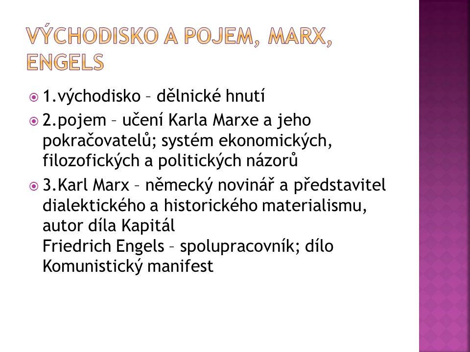  1.Rozdělení společnosti na 2 protikladné (antagonistické) třídy: buržoazii a proletariát  2.