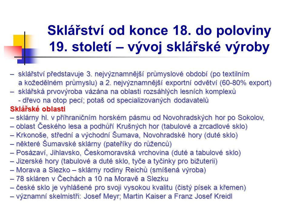 Vývoj sklářské výroby První ¼ 19.stol.