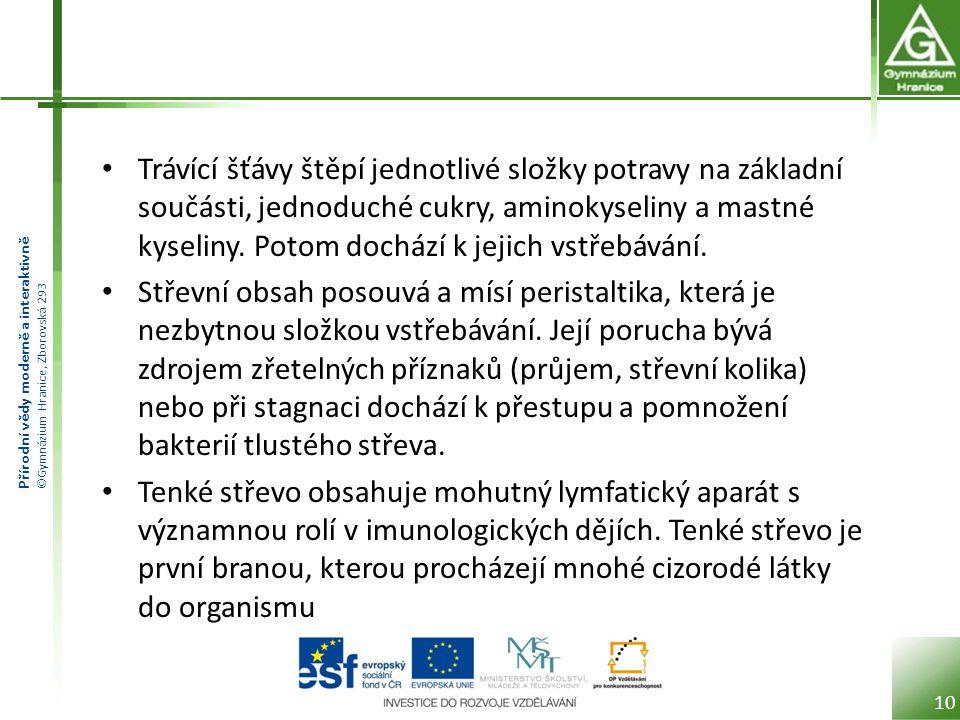 Přírodní vědy moderně a interaktivně ©Gymnázium Hranice, Zborovská 293 Tlusté střevo Na tenké střevo navazuje střevo tlusté (tračník), které má také několik částí.