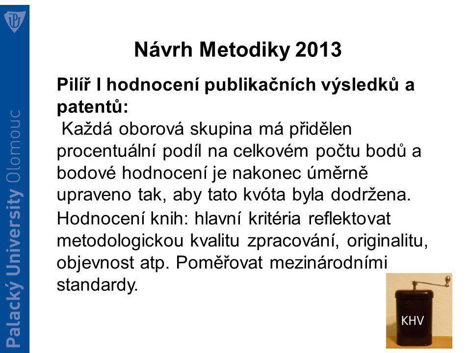 RVVI 2012: příprava Metodiky 2013 Pilíř I hodnocení publikačních výsledků a patentů: Hodnocení knih: Výraznější rozdíl v hodnocení výsledku dvěma hodnotiteli -> hodnocení třetím hodnotitelem, či jednání sub-panelu.