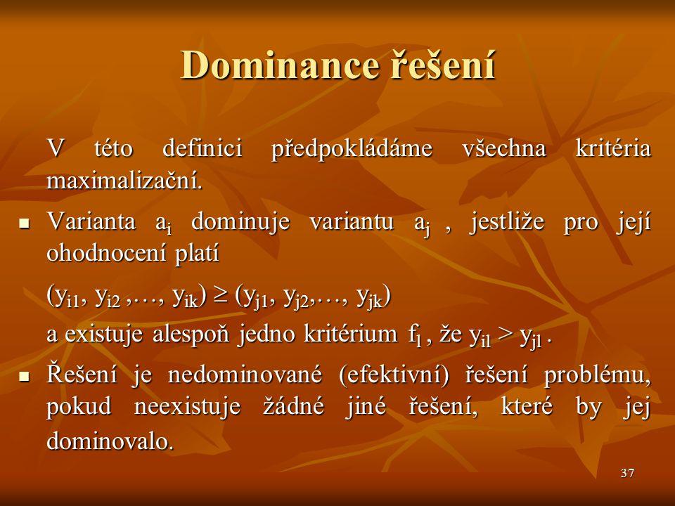38 Kompromisní řešení Kompromisní varianta (řešení) má od ideální varianty (řešení) nejmenší vzdálenost podle vhodné metriky (měřenou vhodným způsobem).