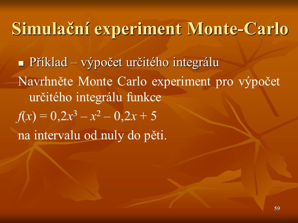 60 Simulační experiment Monte-Carlo Příklad – výpočet určitého integrálu Příklad – výpočet určitého integrálu