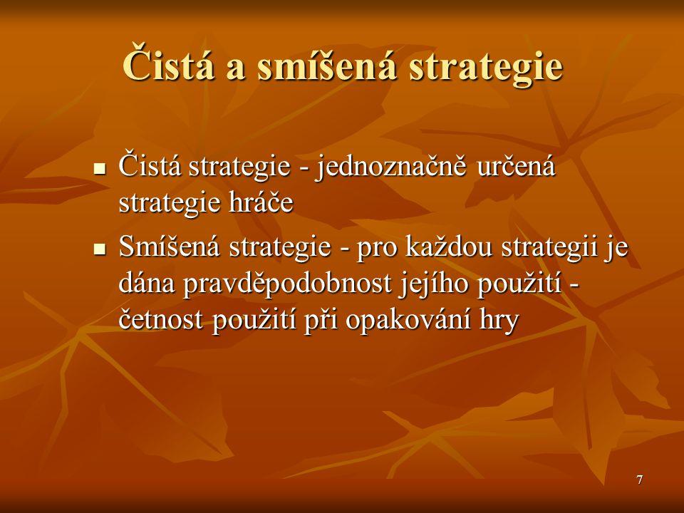 8 Postup řešení maticových her 1.Stanovení strategií hráčů a sestavení výplatní matice 1.