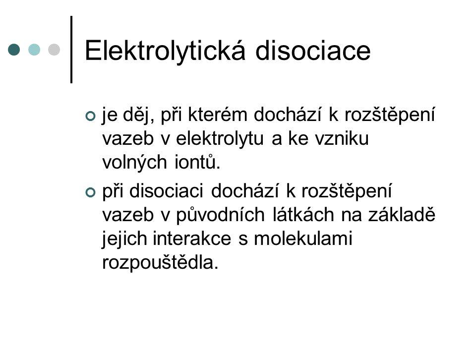 Elektrolytická disociace vhodím do