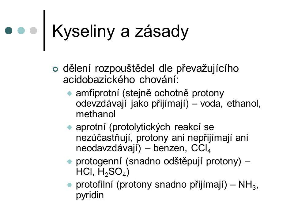 Kyseliny a zásady Brønsted-Lowry teorie lze ukázat, že táž látka se v jednom rozpouštědle chová jako kyselina, v jiném jako báze (např.
