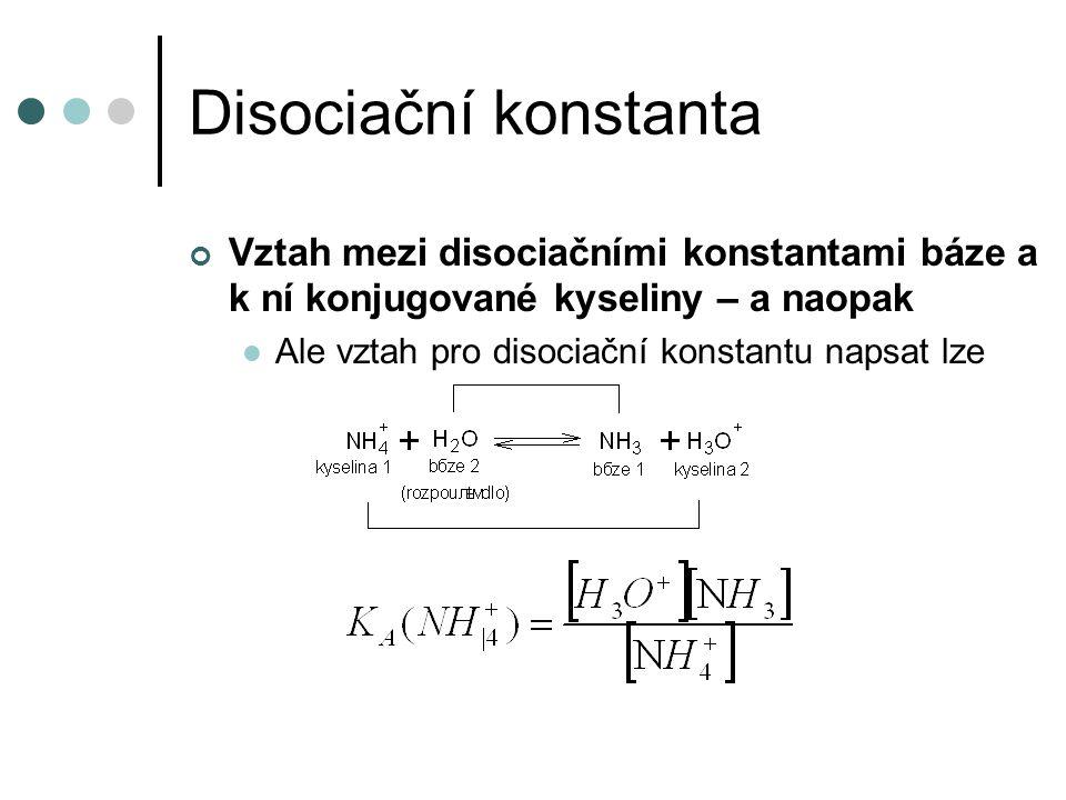 Disociační konstanta Vztah mezi disociačními konstantami báze a k ní konjugované kyseliny – a naopak Pokusme se teď vynásobit K A (NH 4 + ) a K B (NH 3 ) K V je konstanta za dané teploty (viz dále), a je tabelována