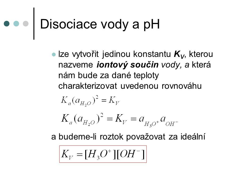 Disociace vody a pH iontový součin vody - tato konstanta je velmi důležitá a často se používá při 25 °C K V = 1,02.10 -14 mění se s teplotou – roste platí ve všech vodných roztocích, ze vztahu je patrné, že pokud nějakým způsobem vzroste koncentrace např.