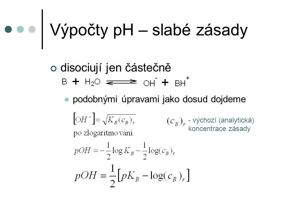 Výpočty pH – slabé zásady disociují jen částečně podobnými úpravami jako dosud dojdeme - výchozí (analytická) koncentrace zásady