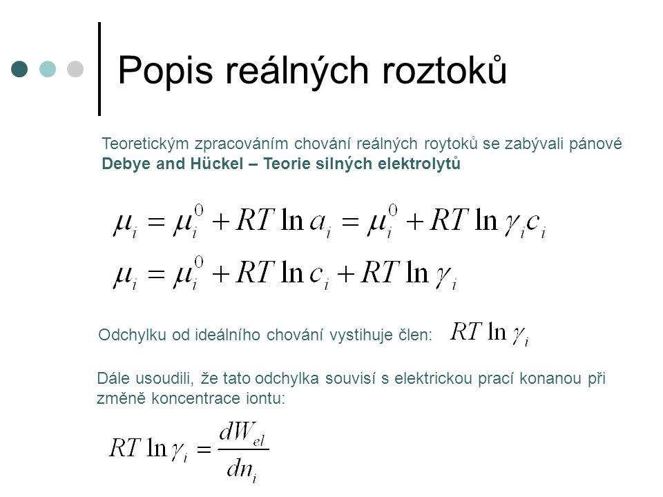 Popis reálných roztoků další předpoklad: ionty jsou považovány za bodové náboje bylo odvozeno: