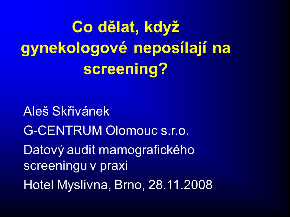 -Arteficiální problém, ale…………… -Mamografický screening probíhá v ČR tak jak probíhá díky účasti gynekologů ve screeningu -% pacientek odeslaných k MG od registrujících gynekologů vs.