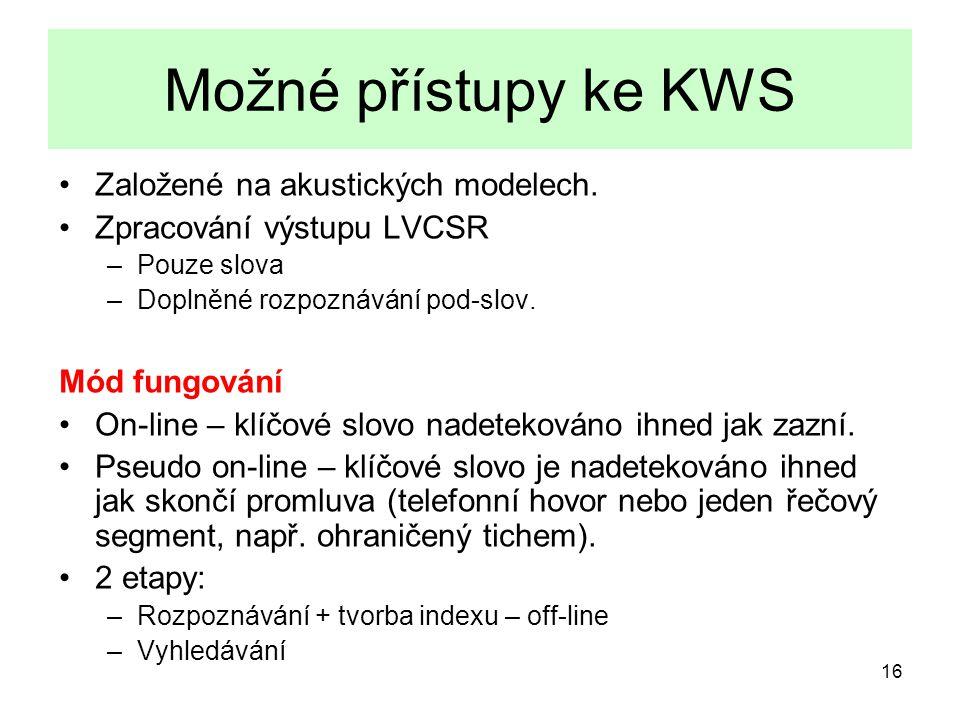 17 Akustický KWS nemá problém OOV  Nemožná indexace – nutnost projít vše  až 0.01xRT  Nemá sílu LM – problém s krátkými slovy a pod-slovy Model slova proti background modelu.