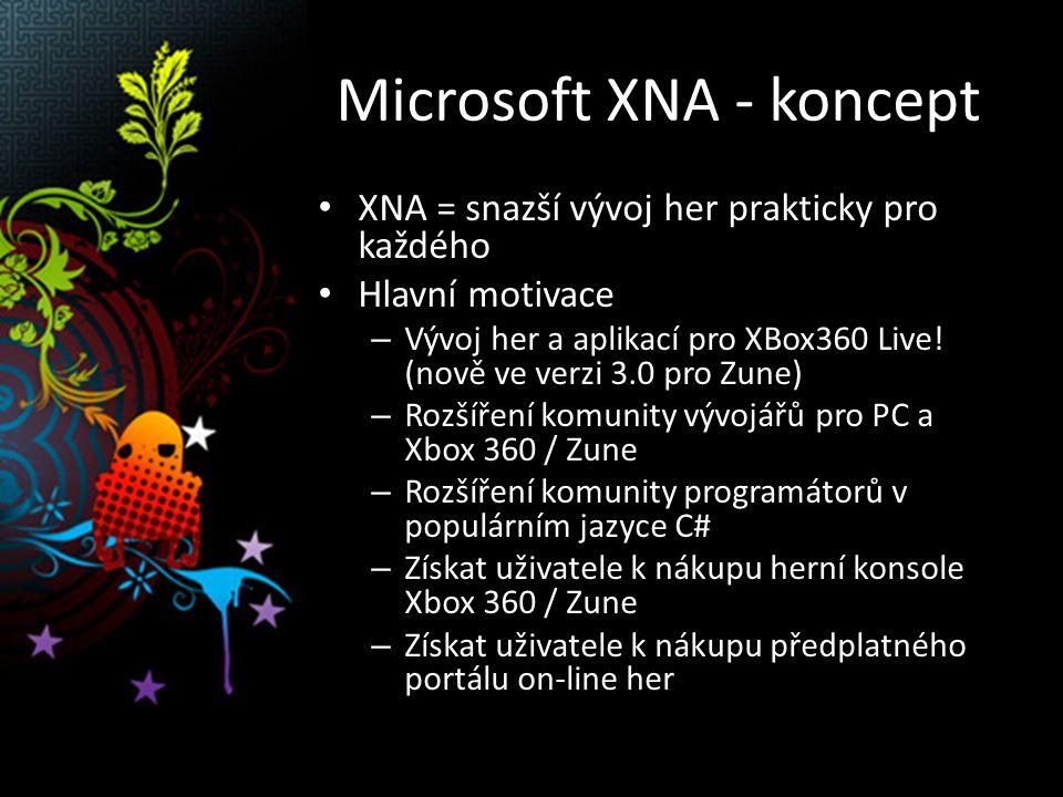 """Microsoft XNA - koncept Základní vlastnosti XNA – Všechny vývojové nástroje ZDARMA (XNA Game Studio Express) – Přehledné a úplné tutoriály, příklady hotových """"OpenSource aplikací – Dostupné výukové materiály jak pro střední(!) tak vysoké školy – Dostatek knih zaměřených na XNA – Vývoj je zaměřen na PC, Xbox 360 a Zune – Předpokládá vždy podporu DirectX (GPU akcelerace zobrazení) – Ideálně ovládání přes GamePad – Pro on-line distribuci je třeba certifikace…"""