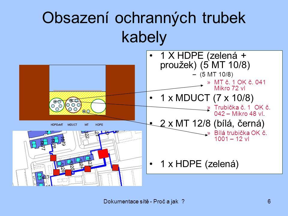 Dokumentace sítě - Proč a jak ?7 Obsazení ochranných trubek kabely Zbývající kapacita ochranných prvků (možnost dalšího rozšíření sítě, dofouknutí kabelů) Počet vláken stávajících kabelů Nutno přesně vědět v jakém ochranném prvku je konkrétní optický kabel