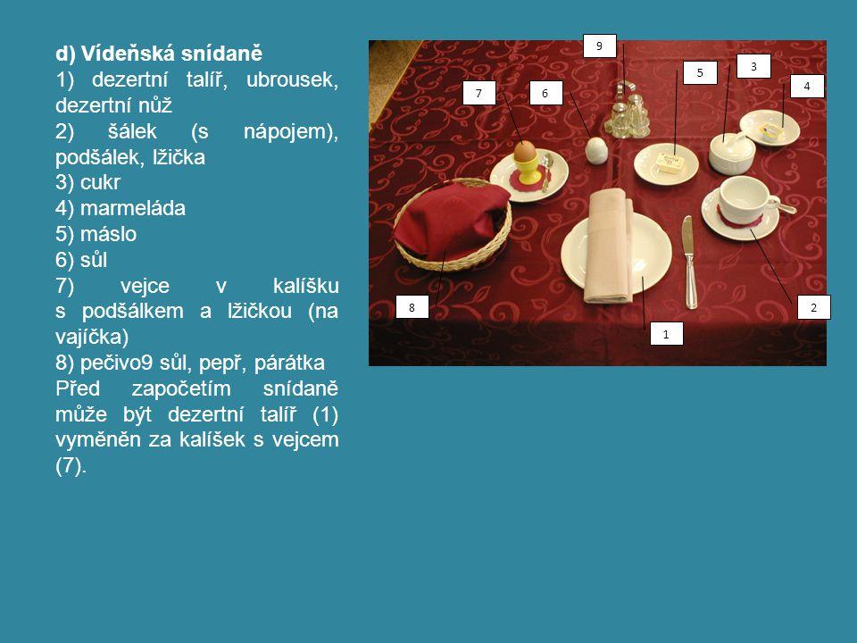 e) Anglická snídaně – rozšíření snídaně – das englische Frühstück – english breakfast – fullbreakfast Objedná-li si host anglickou snídani, klademe dezertní talířek vlevo a na něj položíme dezertní nůž.