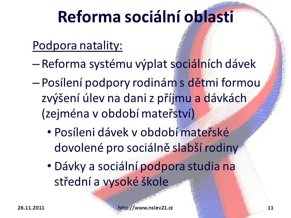 Slovo na závěr V recesi je potřeba stimulovat poptávku a ne šířit paniku Primární je eliminovat sociální dopady krize Sekundární je hledat dlouhodobá řešení zajišťující zaměstnanost a balancovaný přístup k řízení veřejných financí ČR má k dispozici nástroje, jak se s recesí vyrovnat na rozdíl od většiny ostatních zemí EU 26.11.2011http://www.nslev21.cz12